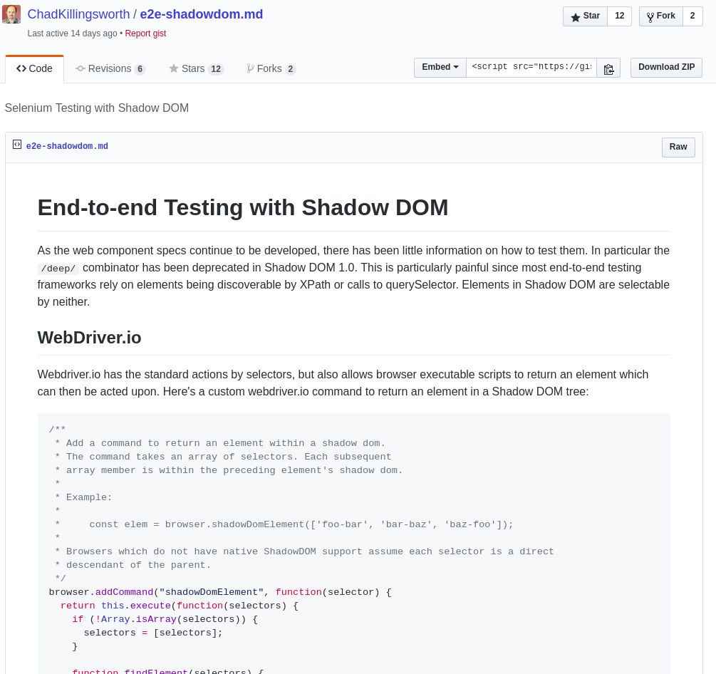 Webcomponents - E2E-testing the Shadow DOM